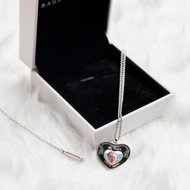 Tribute Heart Photo Necklace - Heart Belong in Heaven - MPNH202