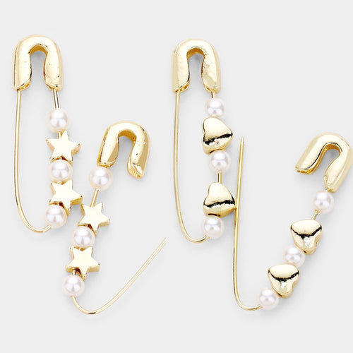 Pearl Safety Pin Earrings
