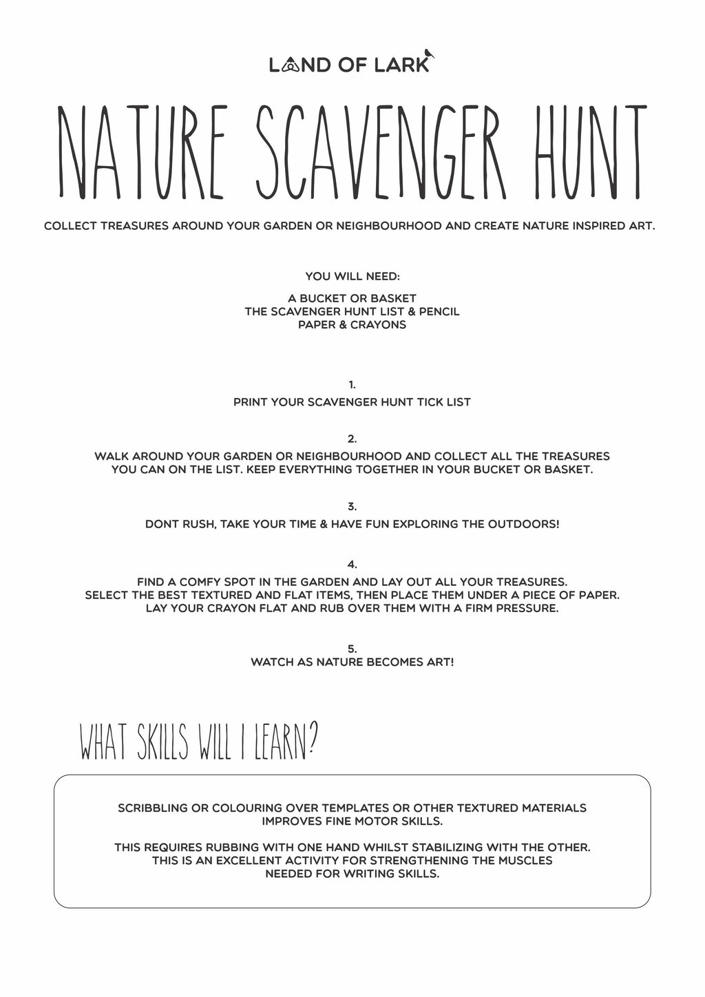 FREE Scavenger Hunt activity