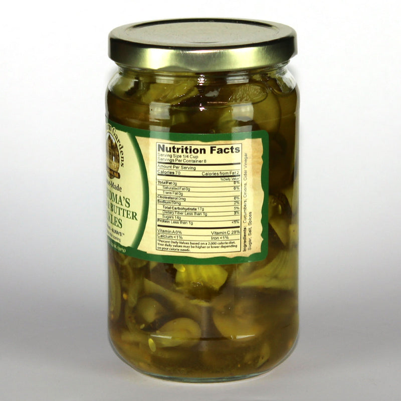 Town farm Gardens Grandmas Bread & Butter Pickles Nutrition