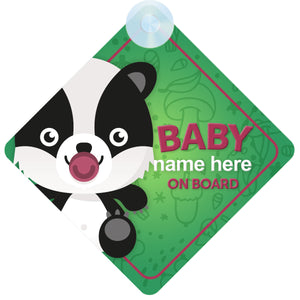 Badger Personalised Baby on Board Sign