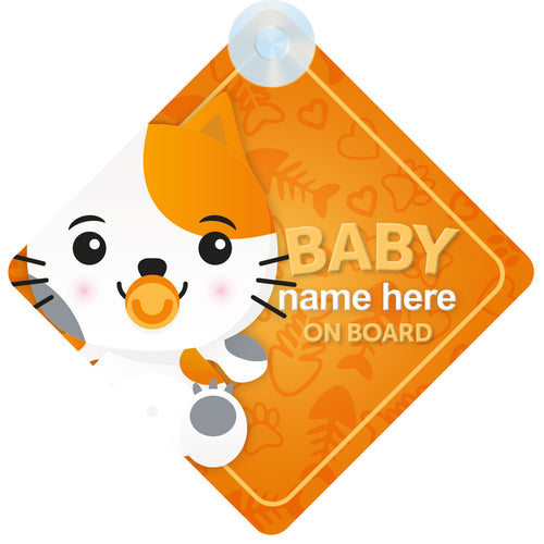 Cat Personalised Baby on Board Sign