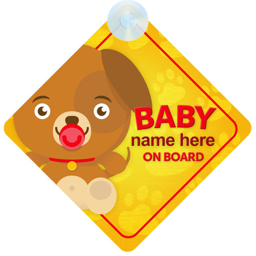 Dog Personalised Baby on Board Sign
