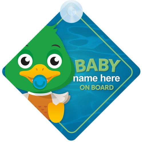 Duck Personalised Baby on Board Sign