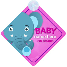 Load image into Gallery viewer, Elephant Personalised Baby on Board Sign