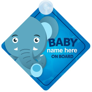 Elephant Personalised Baby on Board Sign