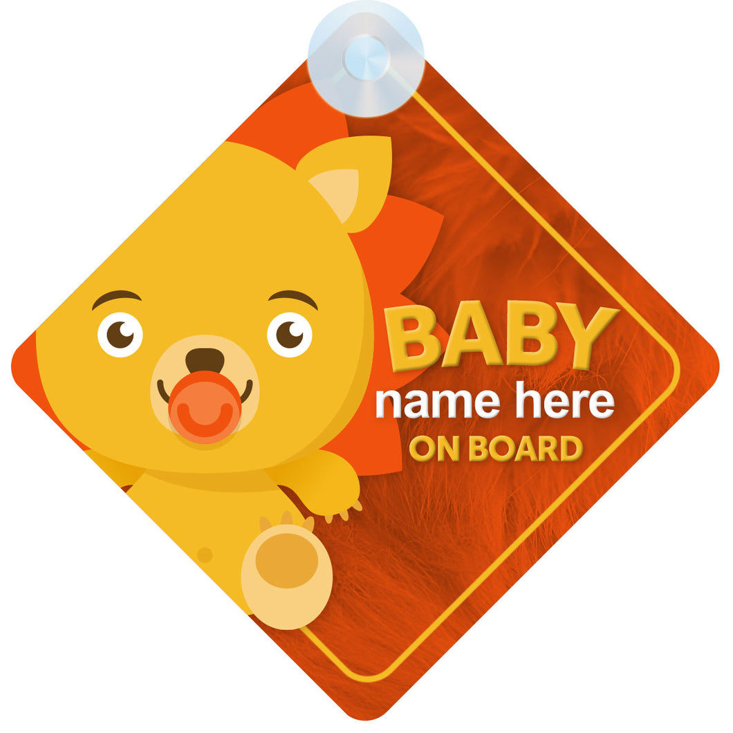 Lion Personalised Baby on Board Sign