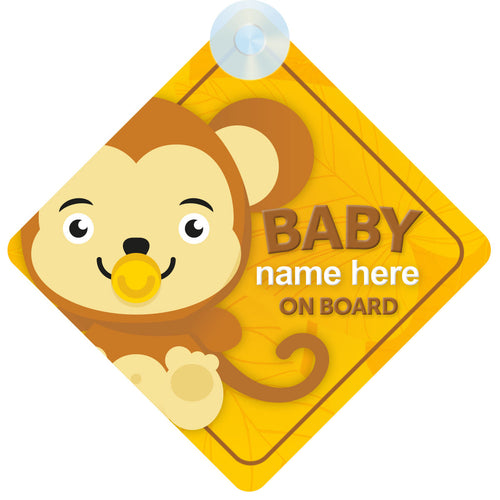 Monkey Personalised Baby on Board Sign