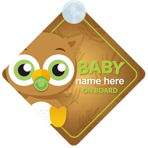 Owl Personalised Baby on Board Sign