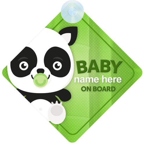 Panda Personalised Baby on Board Sign