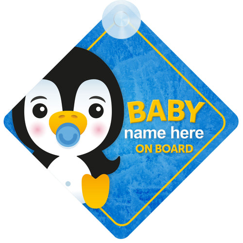 Penguin Personalised Baby on Board Sign