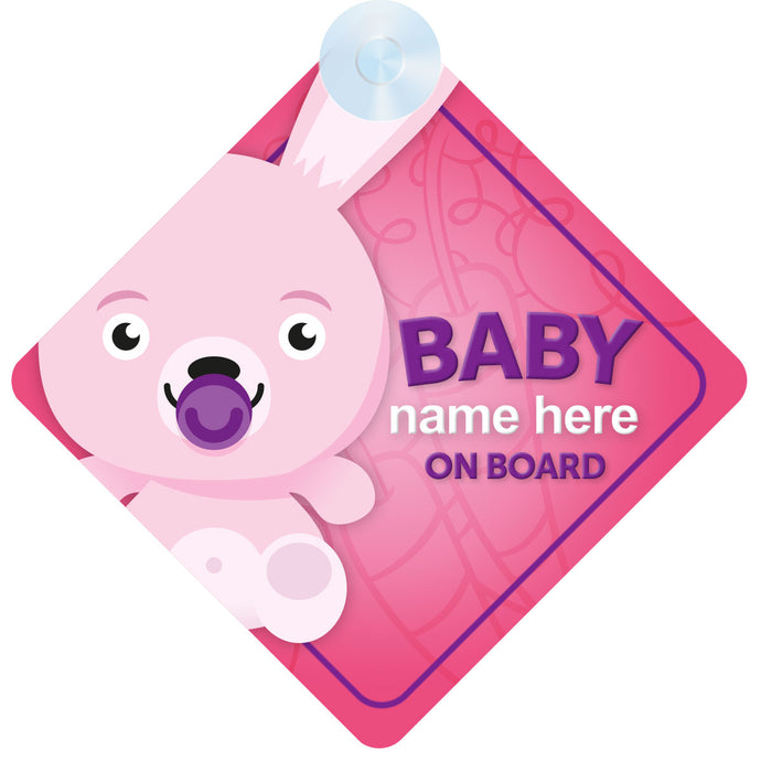 Rabbit Personalised Baby on Board Sign