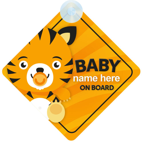 Tiger Personalised Baby on Board Sign