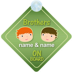 Brothers Personalised Child on Board Sign