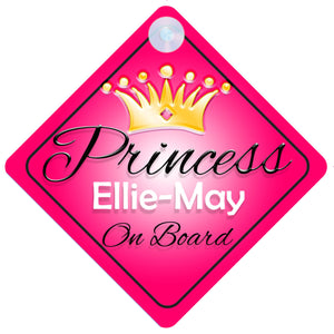 Princess 001 Ellie-May Baby on Board / Child on Board / Princess on Board Sign