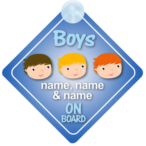 Three Boys / 3 Brothers Personalised Child on Board Sign