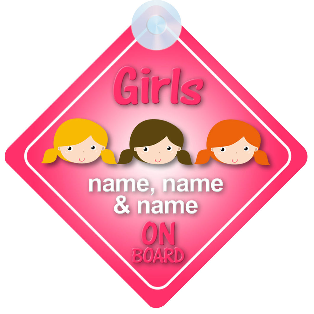 Three Girls / 3 Sisters Personalised Child on Board Sign