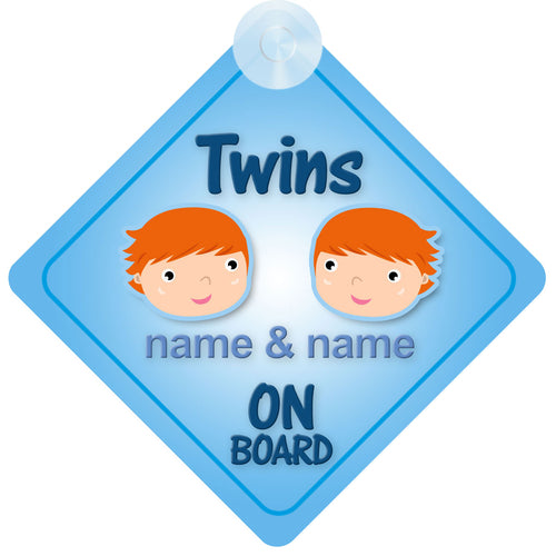 Twin Boys Personalised Child on Board Sign