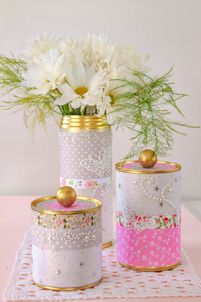 Upcycled Tin Cans With Washi Tape