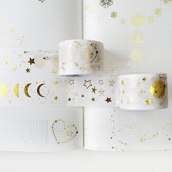 Gold Foil Moon And Star Washi Tape