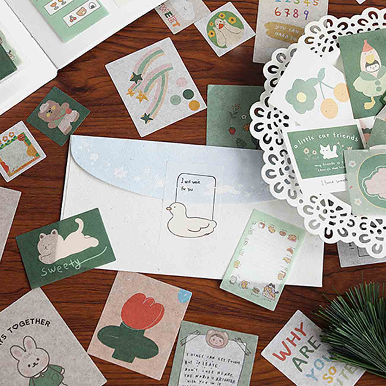 Lovely Paper Stickers - Green