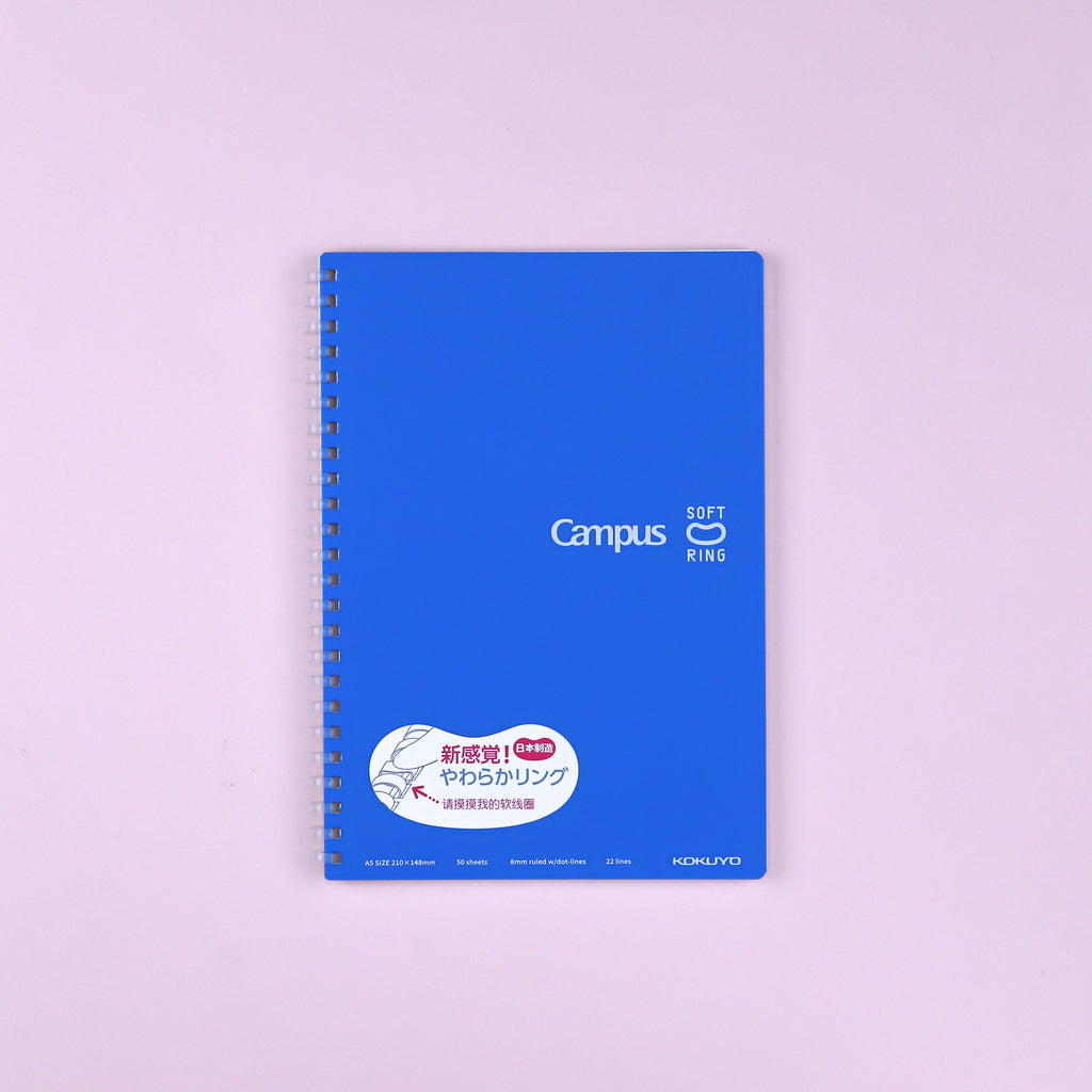 Kokuyo Campus Soft Ring Notebook - A5 - 8 mm Ruled - Blue