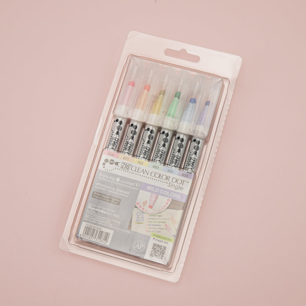 Kuretake Zig Clean Colour Dot Single Marker -  6 Colors Set