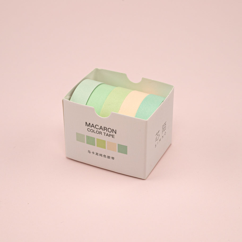 Macaron Pure Color Washi Tape - Set of 5 - Green