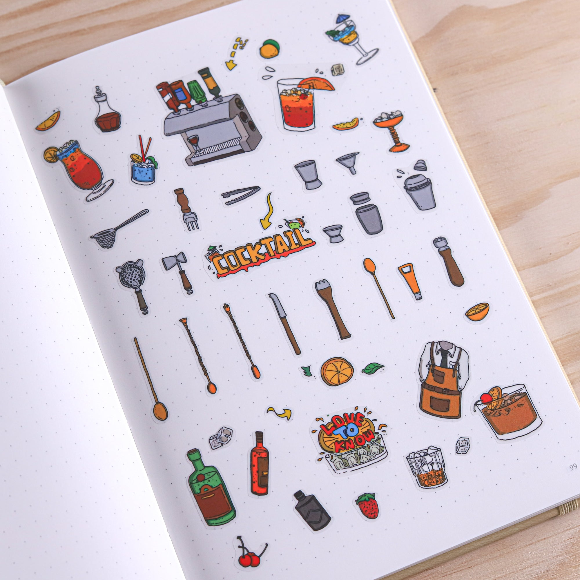 Stationery Pal Original Stickers - Cocktail