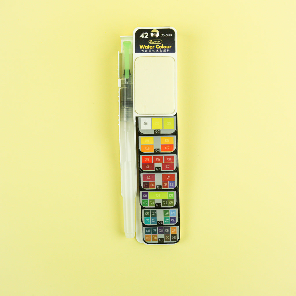 Watercolor Paint Set With Brush - 42 Color Set