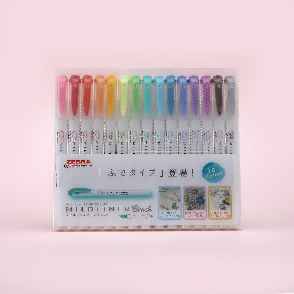 Zebra Mildliner Double-Sided Highlighter Brush Pen - 15 Color Set