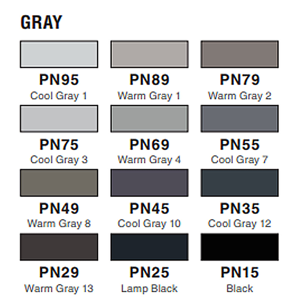 Tombow ABT PRO Alcohol-Based Art Marker - Gray Palette - 12 Color Set