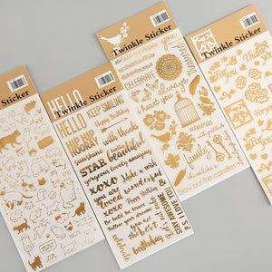 Twinkle Gold Foil Stickers (Set of 4) - Stationery Pal - Online Shop Study & Office Supplies Planner Addict Scrapbooking Bullet Journal Bujo Pens Notebooks