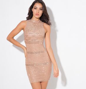 Scallop Sequin Dress Gold