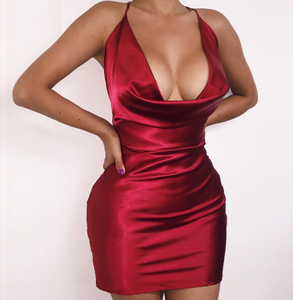 Satin Drape Dress Red