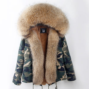Camo Fur Trim Coat