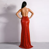 Mora Sequin Maxi Dress Red