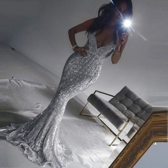 Mora Sequin Maxi Dress - Silver