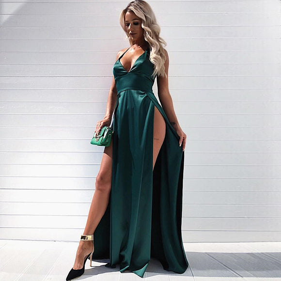 Satin Slit Dress Green