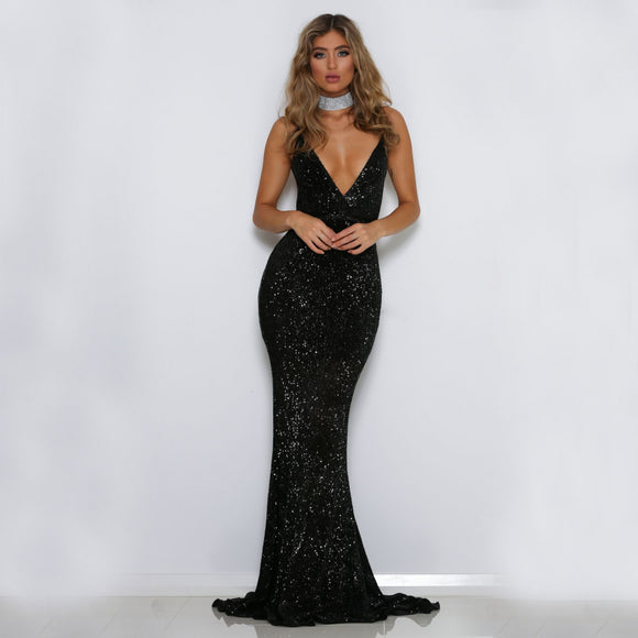 Mora Sequin Maxi Dress Black