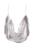 Sequin Drape Top - Silver