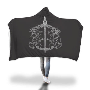 Spear of Odin Geri Freki Hooded Blanket Hooded Blanket