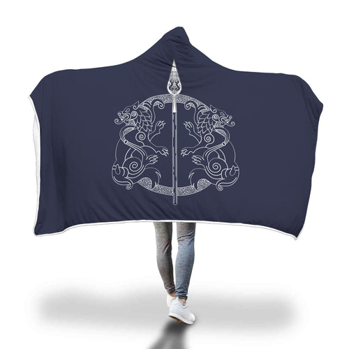 Spear of Odin Geri Freki Hooded Blanket Blue