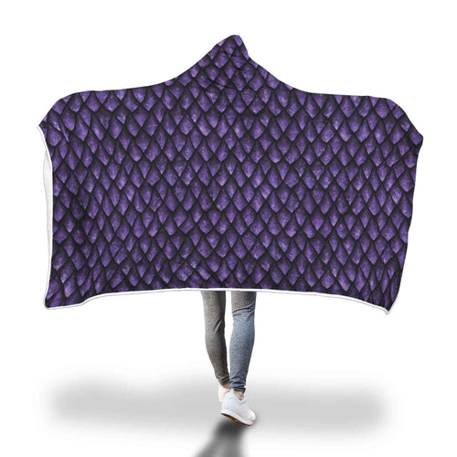 Purple Dragonscale Hooded Blanket