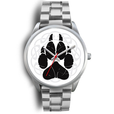 Norse Wolf Paw Silver Watch Silver Watch Mens 40mm Silver Metal Link