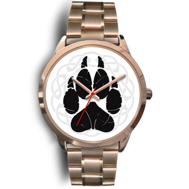 Norse Wolf Paw Rose Gold Watch Rose Gold Watch Mens 40mm Rose Gold Metal Link