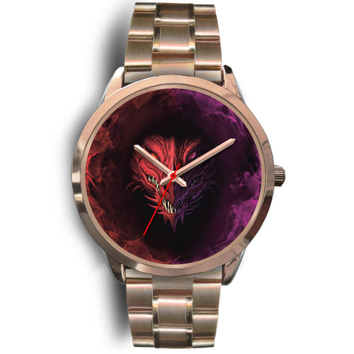 Purple Red Dragonhead Rose Gold Watch Rose Gold Watch Mens 40mm Rose Gold Metal Link