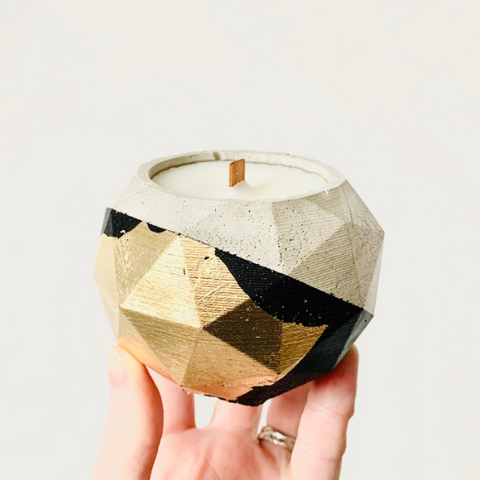 Green Banana + Pink Fig Concrete Candle - Geometric Sphere