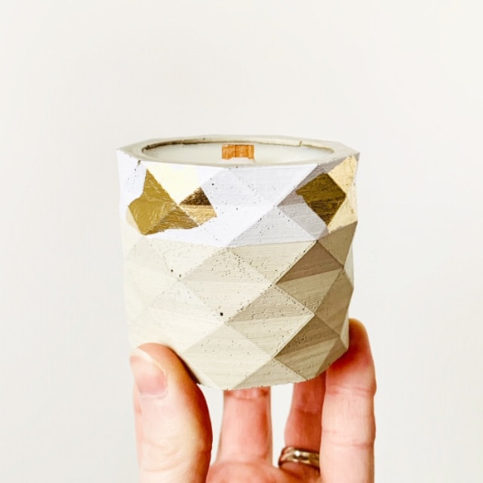 Green Banana + Pink Fig Concrete Candle - Geometric Cylinder