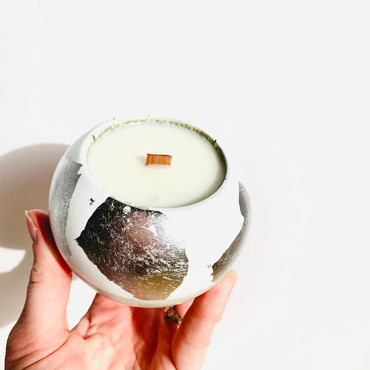 Grapefruit + Mint Leaves Concrete Candle - Sphere